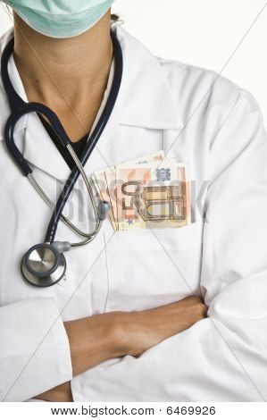 Doctor With Euro Notes