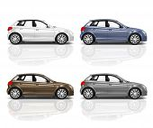 stock photo of four-wheel drive  - Set of 3D Hatchback Car - JPG
