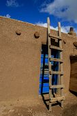 picture of pueblo  - View at Taos Pueblo in New Mexico USA - JPG