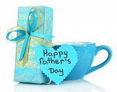 image of stereotype  - Happy Fathers Day tag with gift box and cup - JPG