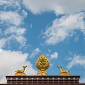 image of dharma  - The sculpture of the wheel of Dharma and two deer on the roof - JPG