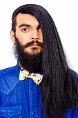 pic of brunete  - Portrait of a young brunet man with a beard and long haired - JPG