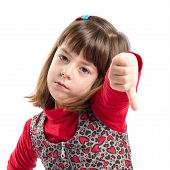 foto of disapproval  - Child doing a bad signal over white background - JPG