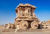 image of chariot  - Chariot and Vittala temple at Hampi India - JPG