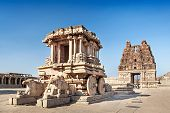 pic of chariot  - Chariot and Vittala temple at Hampi India - JPG