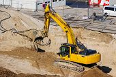 picture of excavator  - excavator on a construction site - JPG