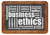 picture of ethics  - business ethics word cloud on a vintage blackboard - JPG
