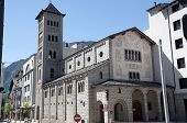 stock photo of neo  - Church of Sant Pere Martir in Escaldes-Engordany Andorra. A Neo-Romanesque style church built in 1956. ** Note: Visible grain at 100%, best at smaller sizes - JPG