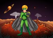 picture of outerspace  - Illustration of a powerful man in the outerspace - JPG