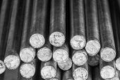 stock photo of ironworker  - Stack of round steel bar  - JPG