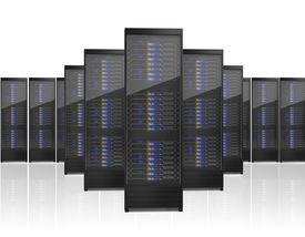 stock photo of supercomputer  - Image of many server racks isolated on white background - JPG