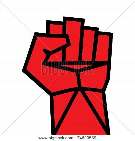 Fist Red Clenched Hand Vector. Victory, Revolt Concept. Revolution, Solidarity, Punch, Strong, Strik