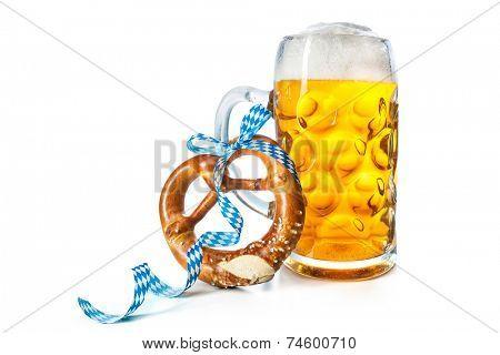 Bavarian beer mug with pretzel isolated on white background