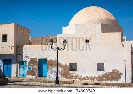 Traditional White-blue House From Kairouan, Tunis