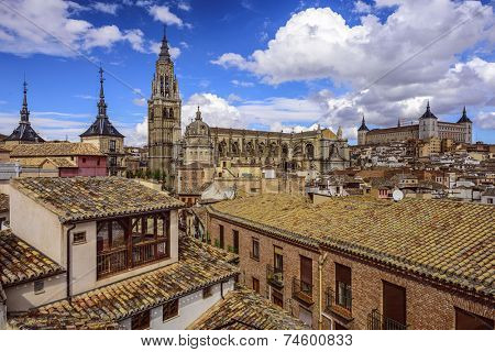 Toledo, Spain town skyline with the Cathedral and Alcazar.