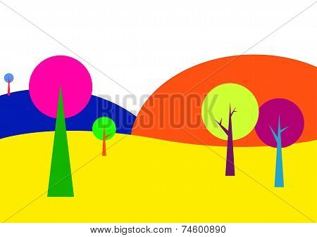 Landscape With Trees In Bright Colors