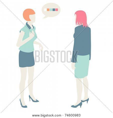 Women and Men Communicate, flat design, pastel colors