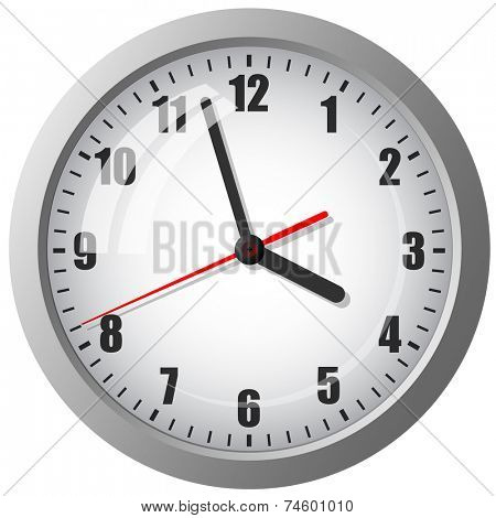 Wall mounted digital clock. Vector illustration.