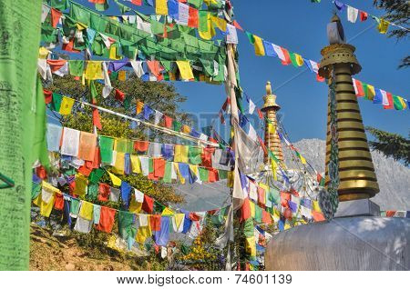 Buddhist Prayer Flags In  Dharamshala, India