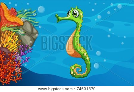 Illustration of seahorse swimming underwater