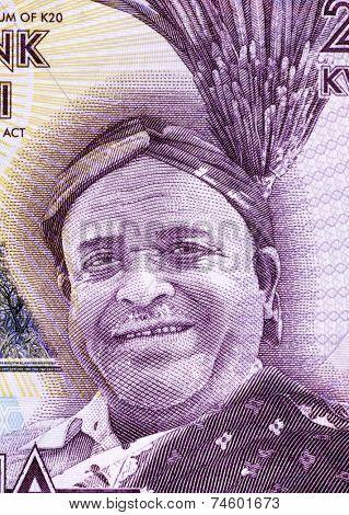 MALAWI - CIRCA 2012: Inkosi Ya Makhosi M' Mbelwa II on 20 Kwacha 2012 Banknote from Malawi.