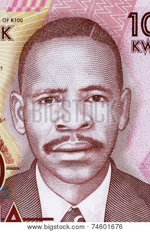 MALAWI- CIRCA 2012: James Frederick Sangala (born 1900) on 100 Kwacha 2012 Banknote from Malawi. Founding member of the Nyasaland African Congress during the period of British colonial rule.