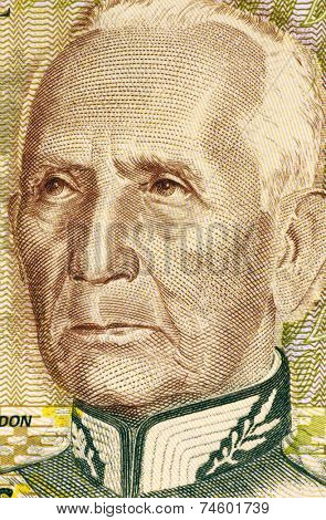 BRAZIL - CIRCA 1990: Candido Rondon (1865-1958) on 1000 Cruzeiros 1990 Banknote from Brazil. Brazilian military officer best known for his exploration of Mato Grosso and the Western Amazon Basin.