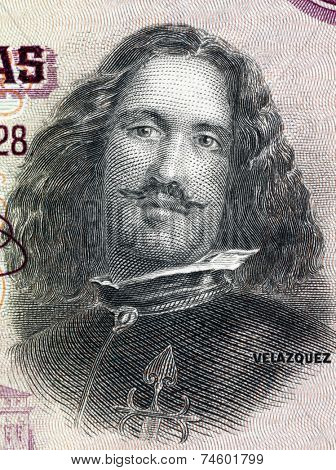 SPAIN - CIRCA 1928: Diego Velazquez (1599-1660) on 50 Pesetas 1928 Banknote from Spain. Spanish painter.