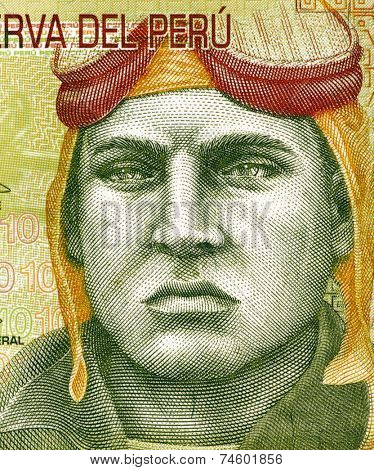 PERU - CIRCA 2009: Jose Quinones Gonzales (1914-1941) on 10 Nuevos Soles 2009 Banknote from Peru. Peruvian military aviator and national aviation hero.