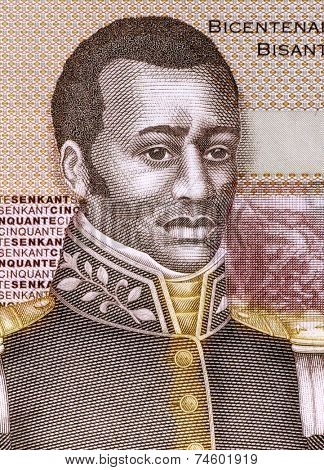 HAITI - CIRCA 2010: Francois Capois (1766-1806) on 50 Gourdes 2010 Banknote from Haiti. Haitian rebel slave.