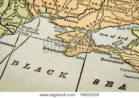 Crimea and Black Sea coast on a vintage 1920s map, selective focus (printed in 1926 - copyrights expired)