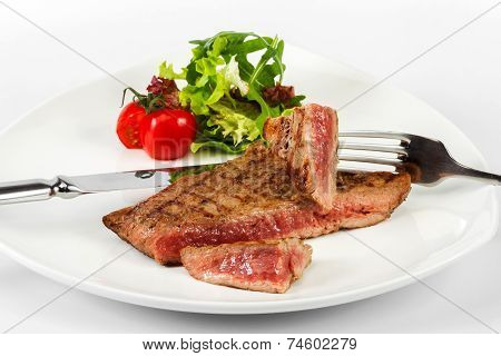 Steak With Blood Of Beef With Tomatoes, Herbs And Lettuce, Serving Utensils
