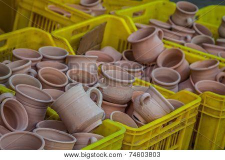 Rustic Handmade Ceramic Clay Brown Terracotta Cups Souvenirs At Street Handicraft Market In Gafsa,tu