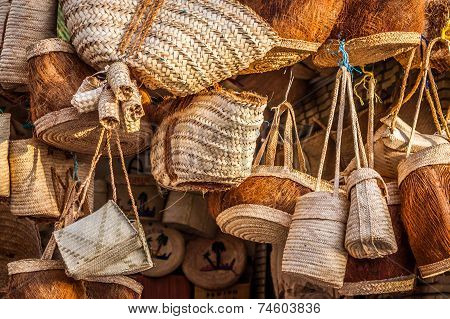 Wicker Basket In Marketplace, Gafsa, Tunisia