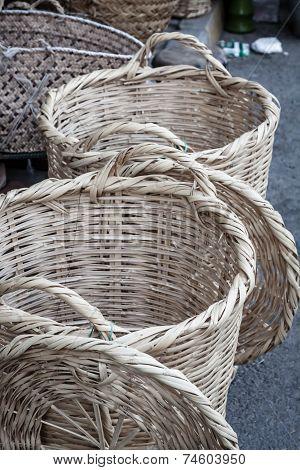 Wicker Baskets In Marketplace, gafsa, tunisia