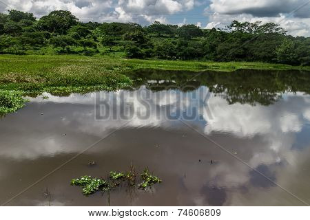 Lagoon With Clouds And Sky Reflection In Estelí, Nicaragua
