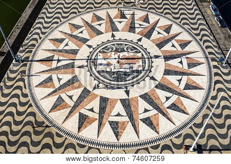 LISBON, PORTUGAL - OCTOBER 21, 2014: The view of Compass Rose Square as seen from the top of the Padrao dos Descobrimentos Monument. The square was gifted by the South African Government.