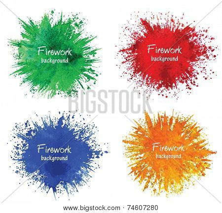 Watercolor firework splatter. Vector design elements.