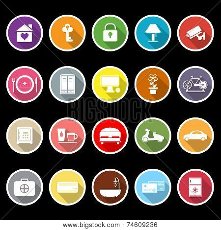 General Home Stay Flat Icons With Long Shadow