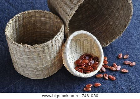 Watermelon seeds in small basket