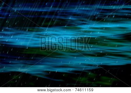 Dark Abstract Ocean And Rain
