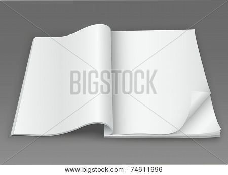 White Blank Open Magazine On A Dark Background