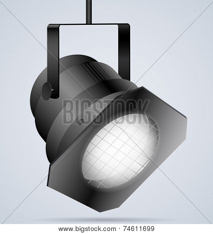 Black Spotlight On Light Background