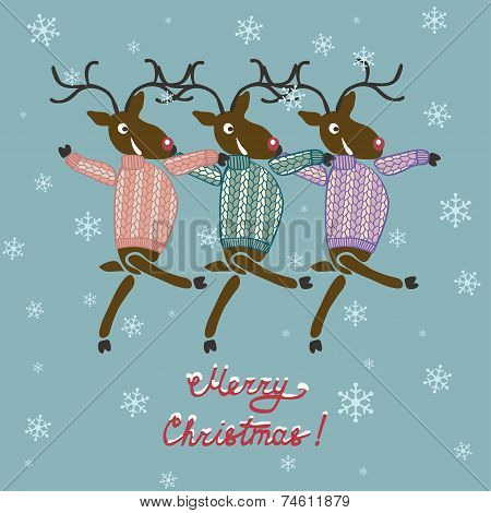 Christmas deer in sweater