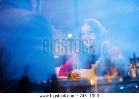 Couple talking in cafe in winter