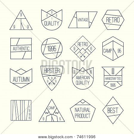 Set Of Retro Vintage Quality Mark