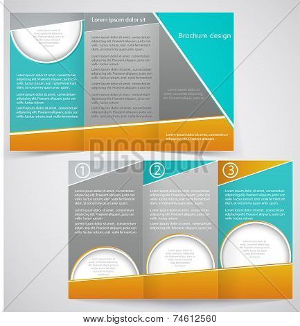 Vector Brochure Layout Design With Green And Yellow Elements, Business Three Fold Flyer Template