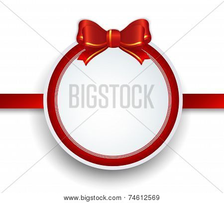 Christmas Gift Frame With Red Ribbon And Bow.