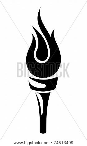 Torch. Vector black silhouette.