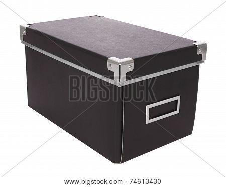 Closed black carton box iron corner on white background.